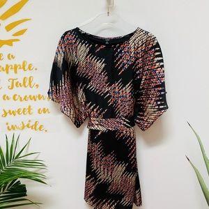 NWT MSK Black Print Flare Sleeve Dress Size 8P